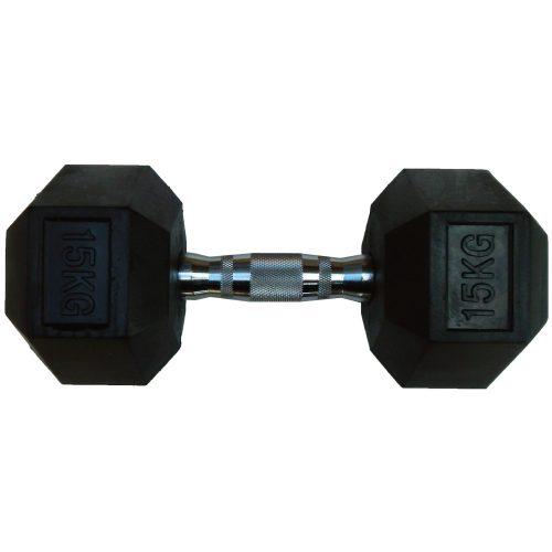 Capetan® Professional Line | Kézisúlyzó (15kg, egykezes edzőtermi gumírozott kézi súlyzó gumírozott fejvégekkel,chromozott markolattal, hexagon gumírozott kézisúlyzó)