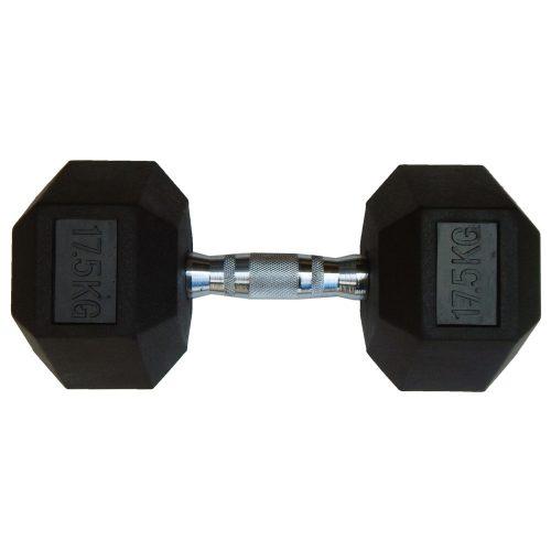 Capetan® Professional Line | Kézisúlyzó (17,5kg, egykezes edzőtermi gumírozott kézi súlyzó gumírozott fejvégekkel,chromozott markolattal, hexagon gumírozott kézisúlyzó)