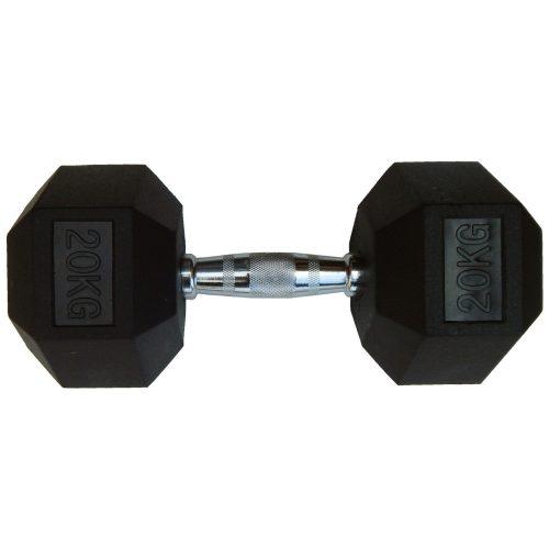 Capetan® Professional Line | Kézisúlyzó (20kg, egykezes edzőtermi gumírozott kézi súlyzó gumírozott fejvégekkel,chromozott markolattal, hexagon gumírozott kézisúlyzó)