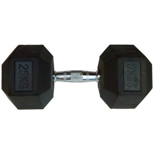 Capetan® Professional Line | Kézisúlyzó (25kg, egykezes edzőtermi gumírozott kézi súlyzó gumírozott fejvégekkel,chromozott markolattal, hexagon gumírozott kézisúlyzó)