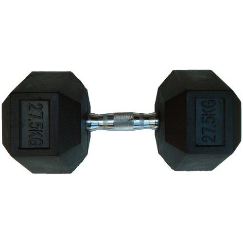 Capetan® Professional Line | Kézisúlyzó (27,5kg, egykezes edzőtermi gumírozott kézi súlyzó gumírozott fejvégekkel,chromozott markolattal, hexagon gumírozott kézisúlyzó)