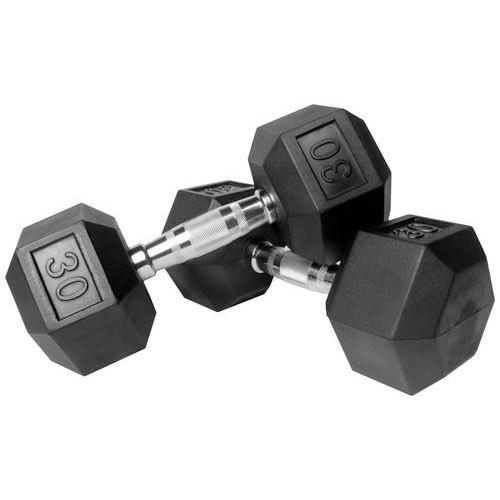 Capetan® Professional Line | Kézisúlyzó (30kg, egykezes edzőtermi gumírozott kézi súlyzó gumírozott fejvégekkel,chromozott markolattal, hexagon gumírozott kézisúlyzó)