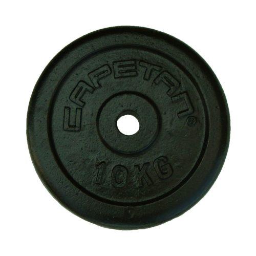 Capetan®   Súlytárcsa (10kg, acél tárcsasúly, 31mm átm. Lukkal, fekete selyemfényű festék bevonattal)