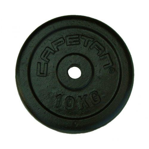 Capetan® | Súlytárcsa (10kg, acél tárcsasúly, 31mm átm. Lukkal, fekete selyemfényű festék bevonattal)