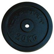 Capetan® | Súlytárcsa (20kg, acél tárcsasúly, 31mm átm. Lukkal, fekete selyemfényű festék bevonattal)