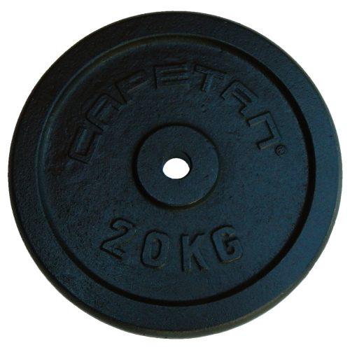 Capetan® 20Kg  31mm átm, Acél súlytárcsa fekete selyemfényű festék bevonattal