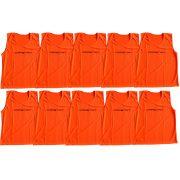 Jelzőtrikó szett (10db, L-es méret, 73x60cm, neon narancs színben, strapabíró anyagból)